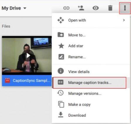 Google Drive Closed Captions